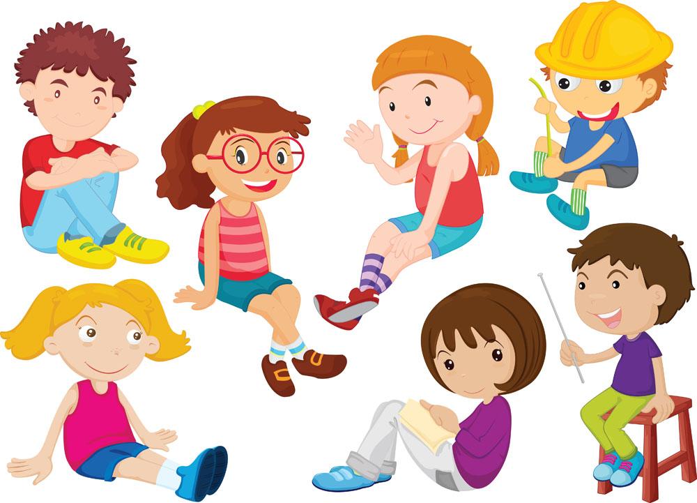 坐着的卡通男孩女孩矢量素材下载-儿童幼儿-矢量人物-矢量素材 - 集图图片