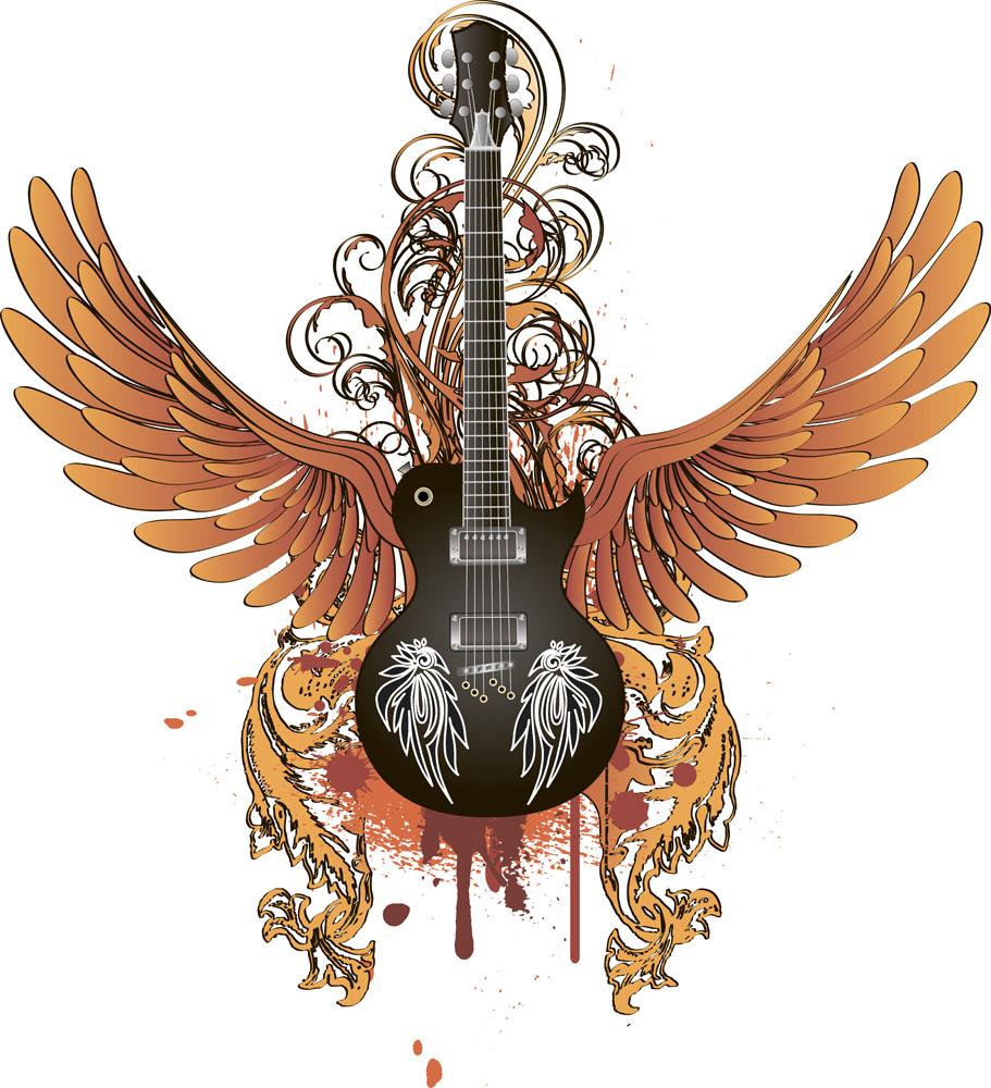 集图网 矢量素材 生活百科 影音娱乐 麦克风,翅膀,双翼,吉他乐器,摇滚