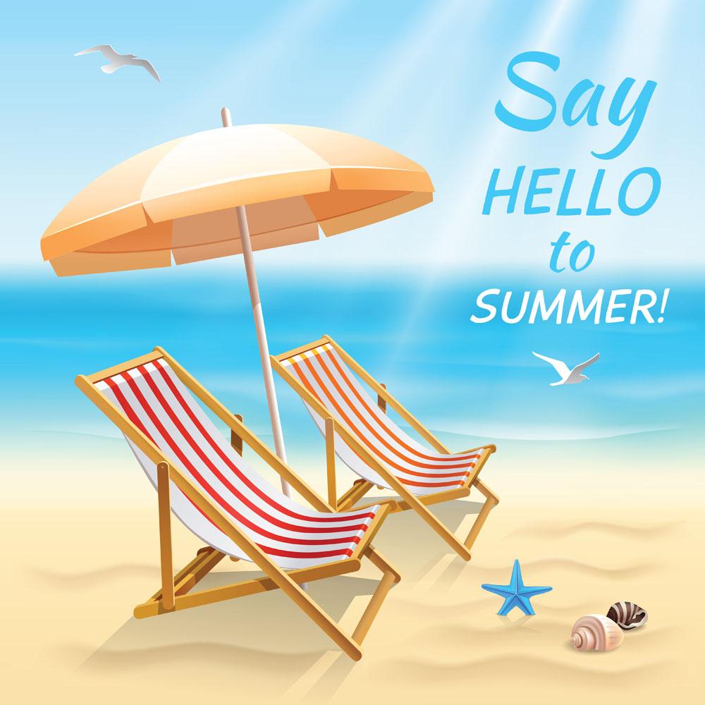 广告设计 其他模板 卡通旅游海报,蓝天白云,大海,沙滩,椅子,雨伞,夏日图片