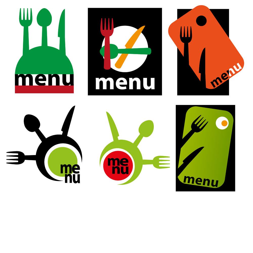 卡通刀叉菜单设计图片图片