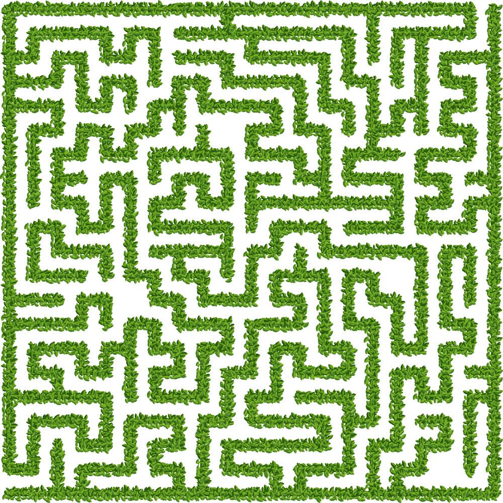 矢量树叶迷宫设计图片
