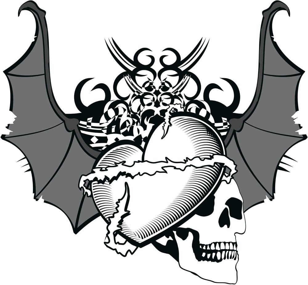 骷髅头和心形图片下载,骷髅头,喷墨背景,心形图案,蝙蝠翅膀图案,纹身图片