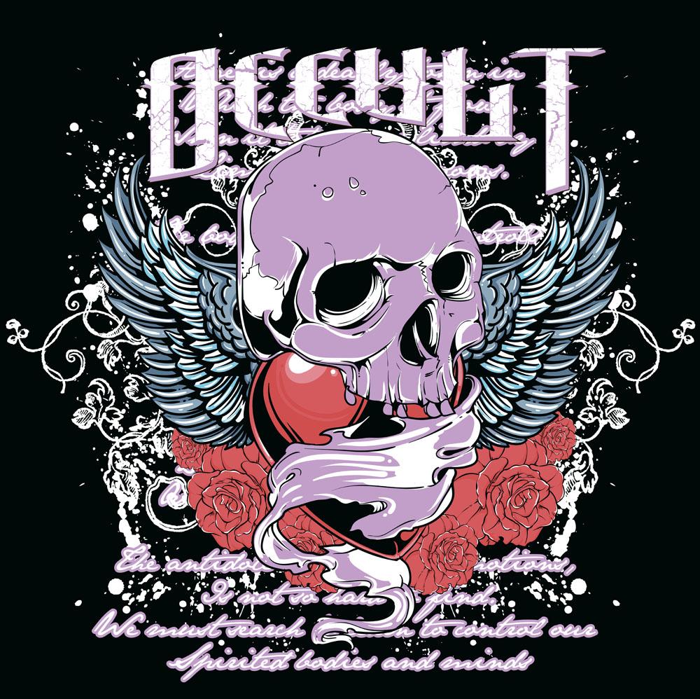 骷髅头,玫瑰花朵,喷墨背景,心形图案,蝙蝠翅膀图案,纹身图案,时尚图案图片
