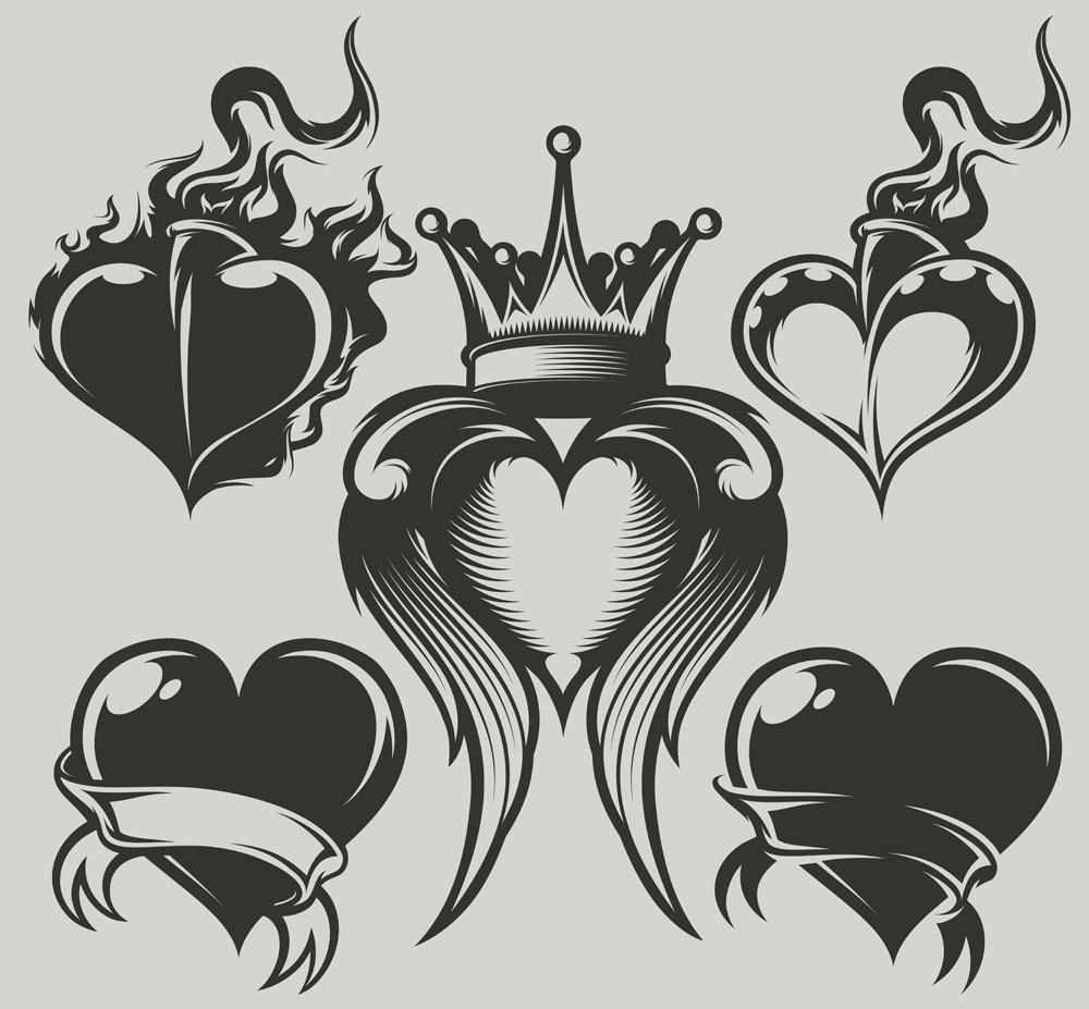 创意心形和皇冠图案图片下载,心形图案,翅膀图案,纹身图案,时尚图案图片