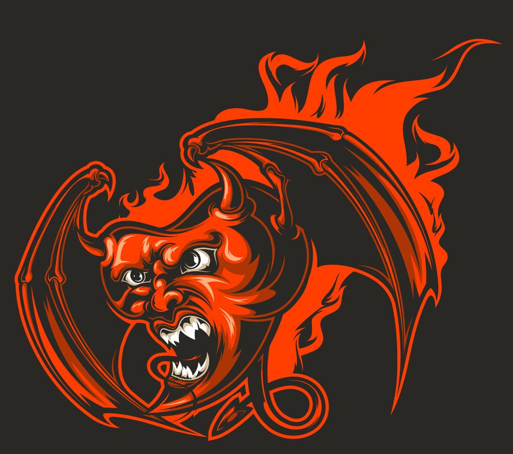 魔鬼心脏,心形图案,翅膀图案,纹身图案,印花图案,底纹边框,矢量素材图片