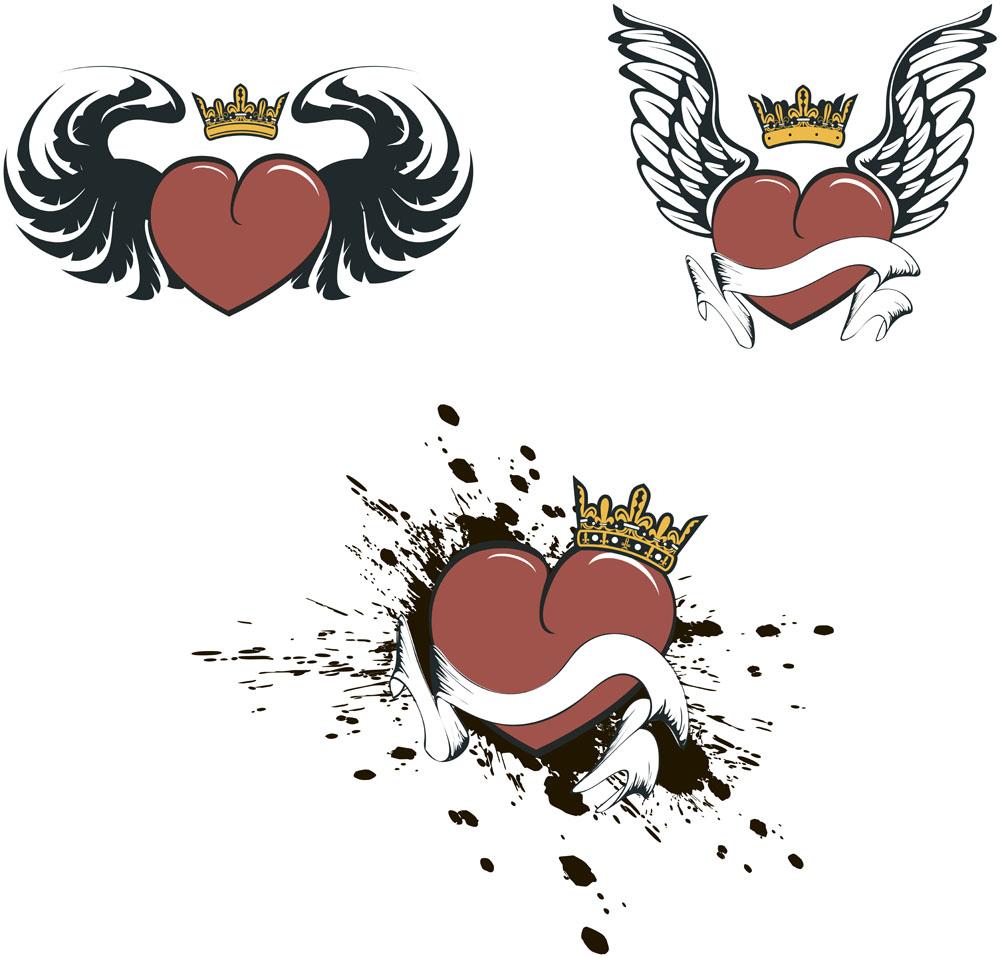 心形图案,翅膀图案,纹身图案,时尚图案,印花图案,底纹边框,矢量素材图片