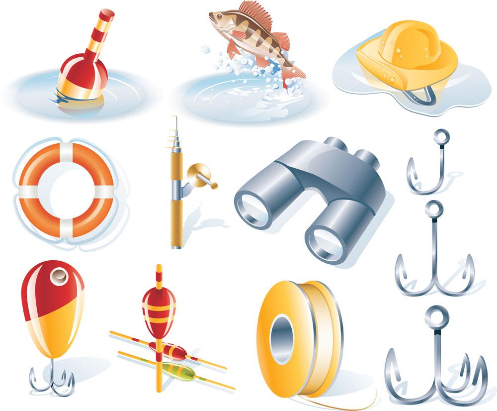 游泳圈,鱼杆,望远镜,鱼钩,鱼线,垂钓,图标,图标设计,矢量图标,卡通图片