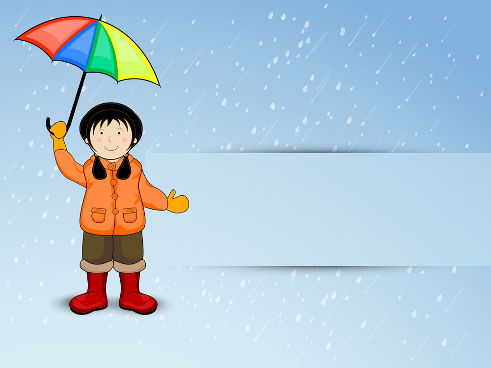 卡通撑伞的女孩图片-撑伞的女孩图片动漫/小孩带动物帽子图片/雨中