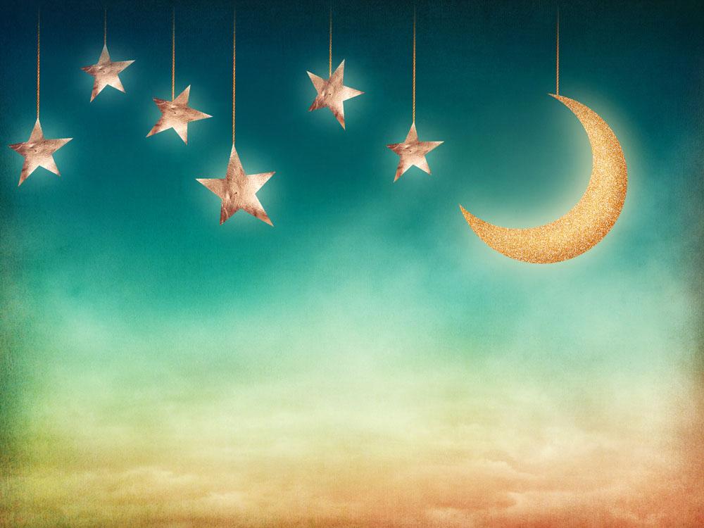 集图网 图片素材 背景花边 底纹背景 空中垂吊的星星月亮图片素材下载图片