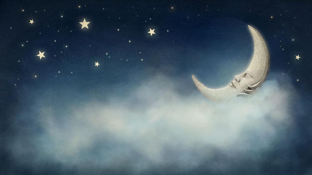 集图网 图片素材 背景花边 底纹背景 夜空中的星星月亮图片素材下载图片