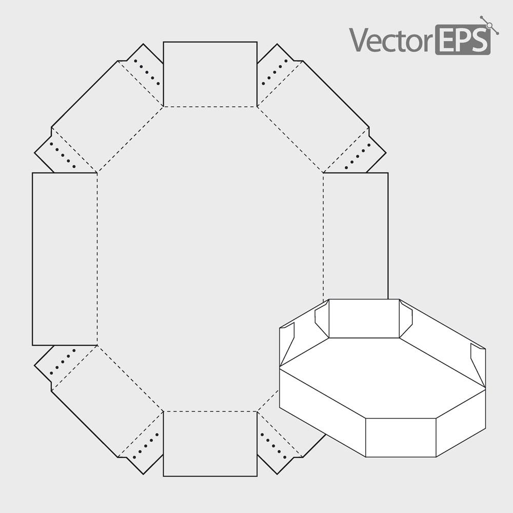 六边形包装盒模板,包装盒设计,创意包装设计,包装盒钢刀线,包装盒展开图片