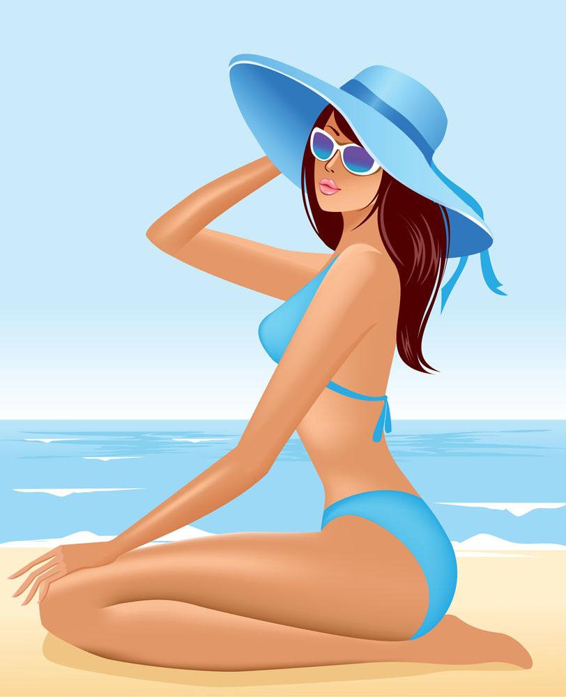 大碗上的卡通美女,沙滩,大海,性感,墨镜,沙滩,广告,女人,卡通美女性感帽子女性图片