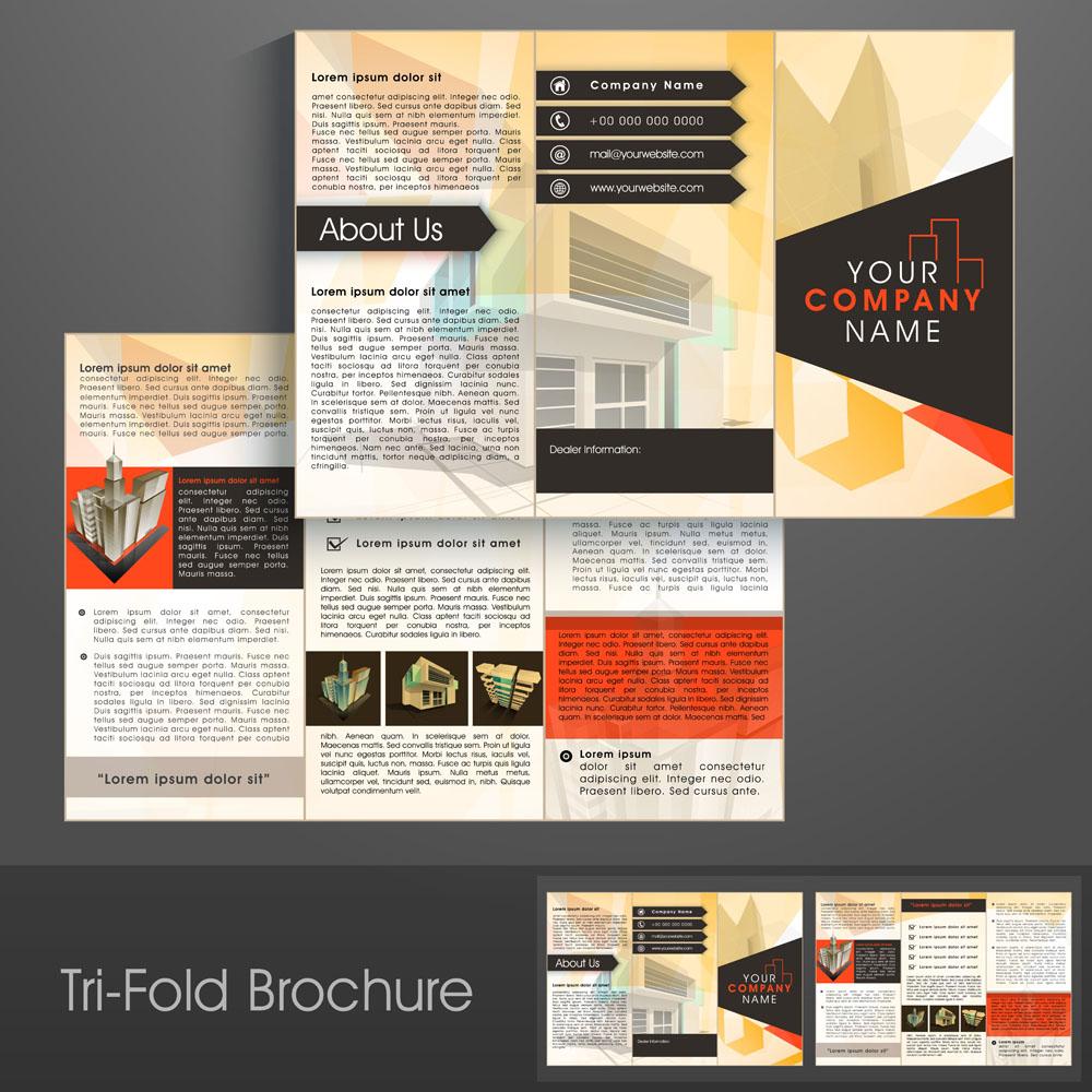 折页 传单 建筑模型,三折页排版,单页排版,宣传折页排版,排版设计图片