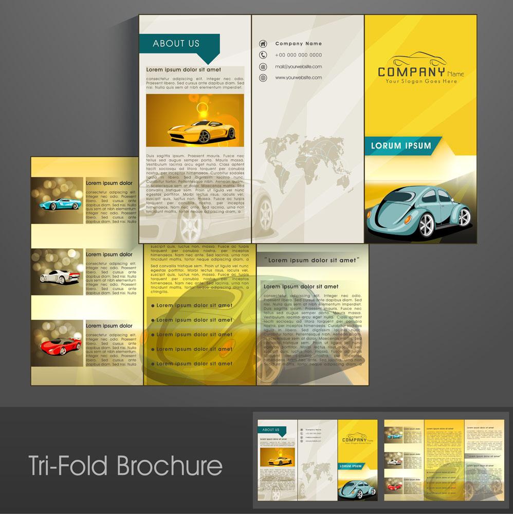 集图网 矢量素材 广告设计 折页 传单 轿车折页设计,三折页排版,单页图片