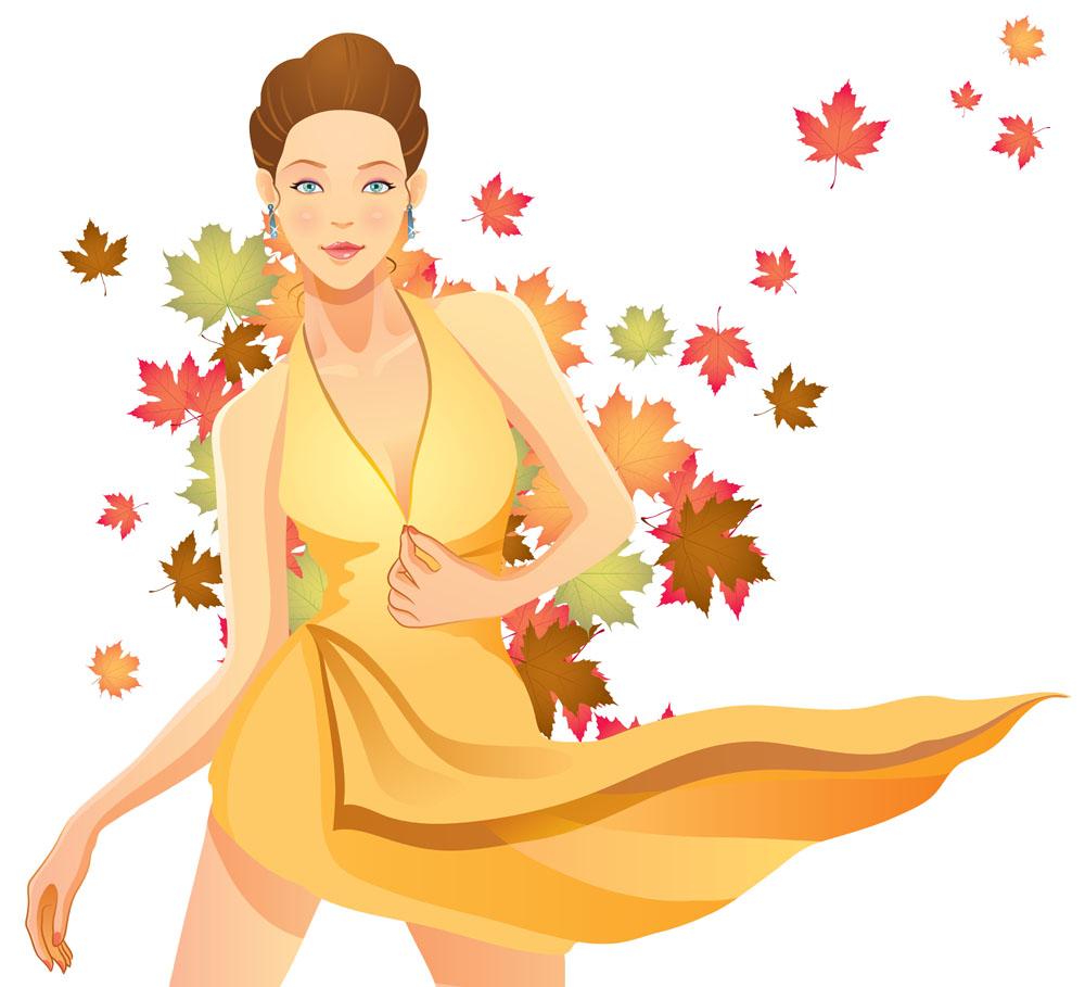集图网 矢量素材 矢量人物 女性女人 卡通美女,秋天落叶,梧桐叶,黄叶图片