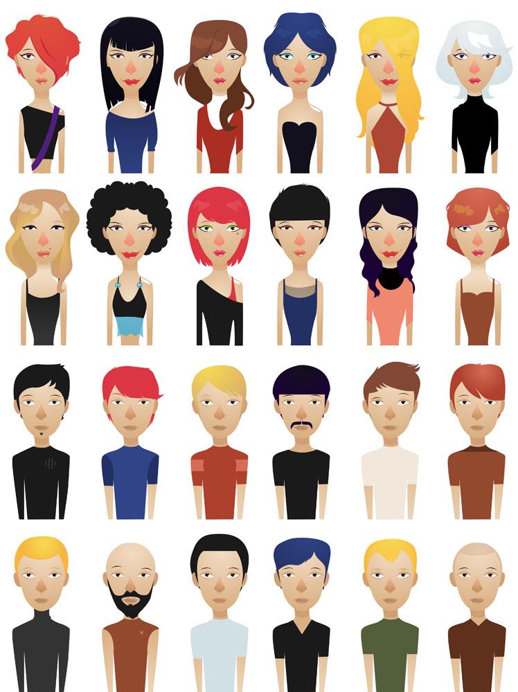 潮流男士,潮男,卡通男士,卡通男人,矢量男性插画,矢量女性插画,卡通图片
