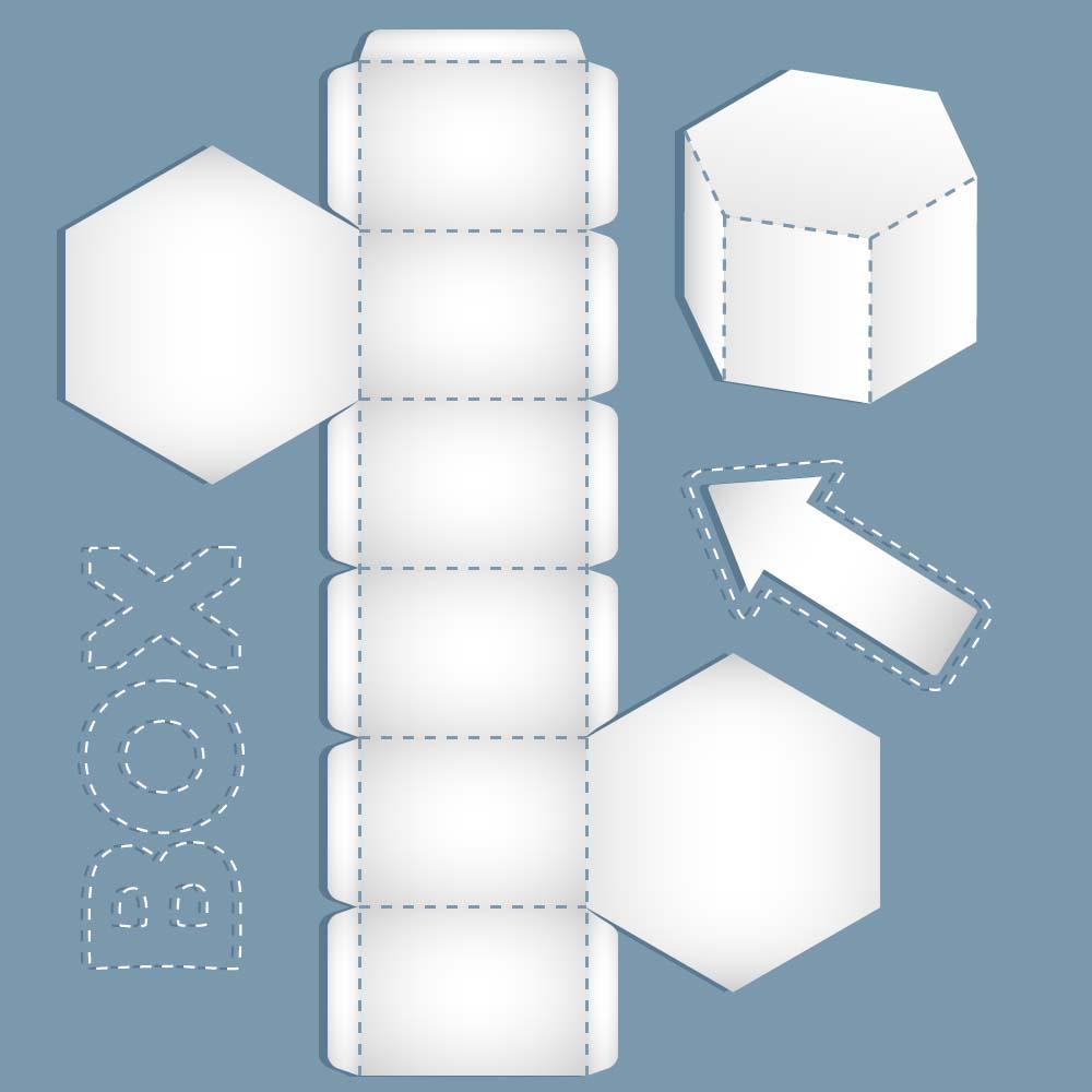 广告设计 包装设计 六边形礼盒模板,包装盒模板,包装设计,包装盒展开图片