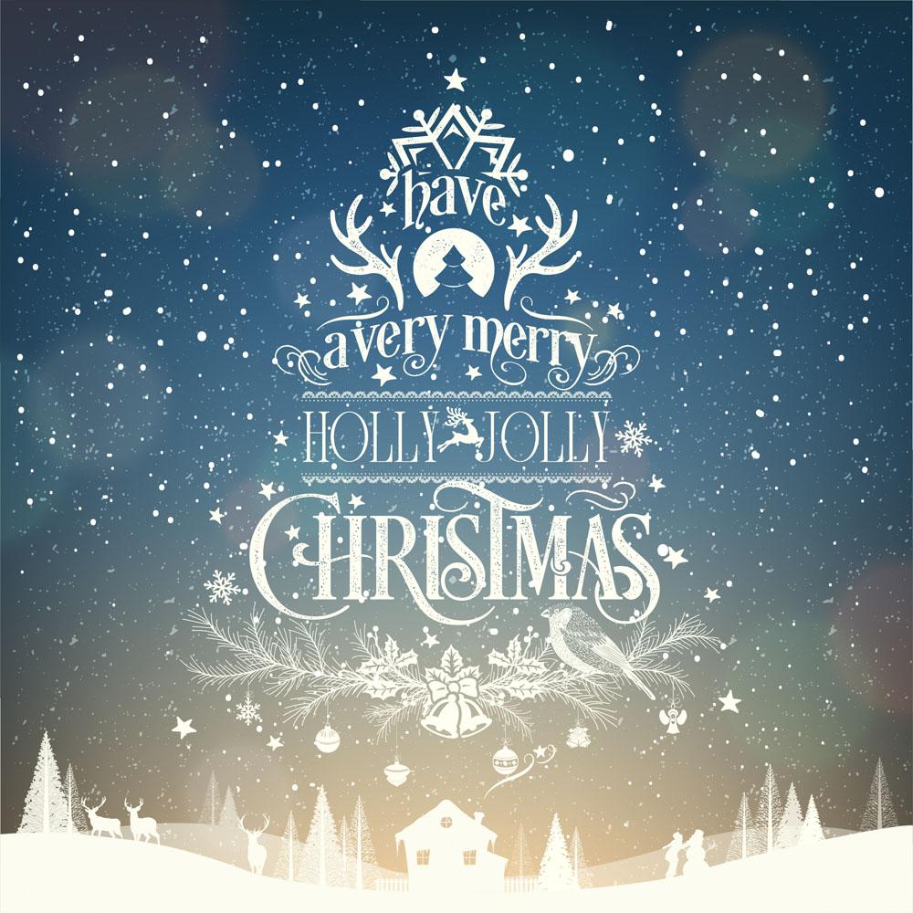 蓝色星空圣诞节海报矢量素材下载-圣诞节-节日素材