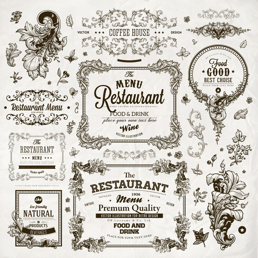 复古花纹菜单设计图片图片