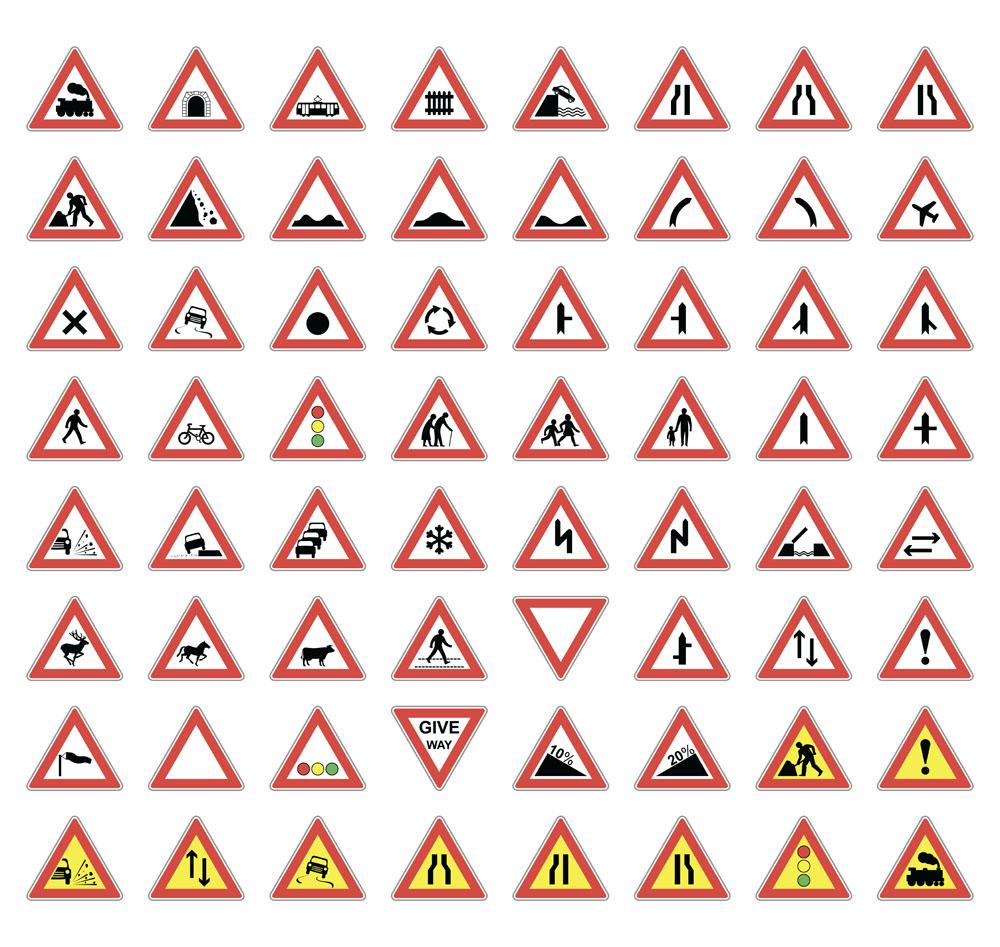 施工与交通标识牌图片