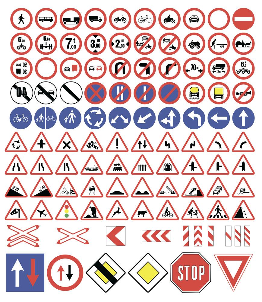 集图网 矢量素材 标志图标 公共标志 限重,自行车,摩托车,箭头,人行道