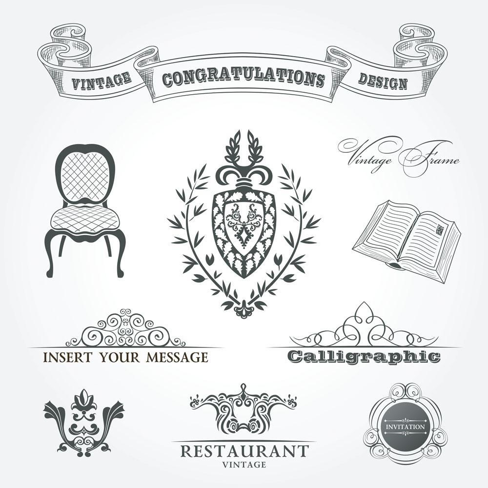 书本沙发欧式花纹矢量素材下载-其他模板-广告设计