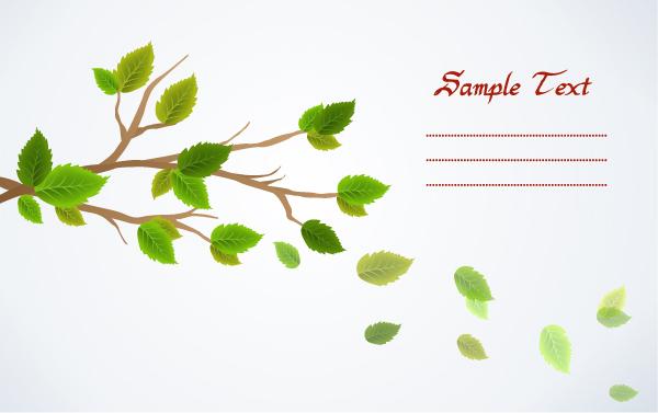 集图网 矢量素材 底纹边框 底纹背景 飘落的树叶,信纸,卡片,时尚绿叶图片