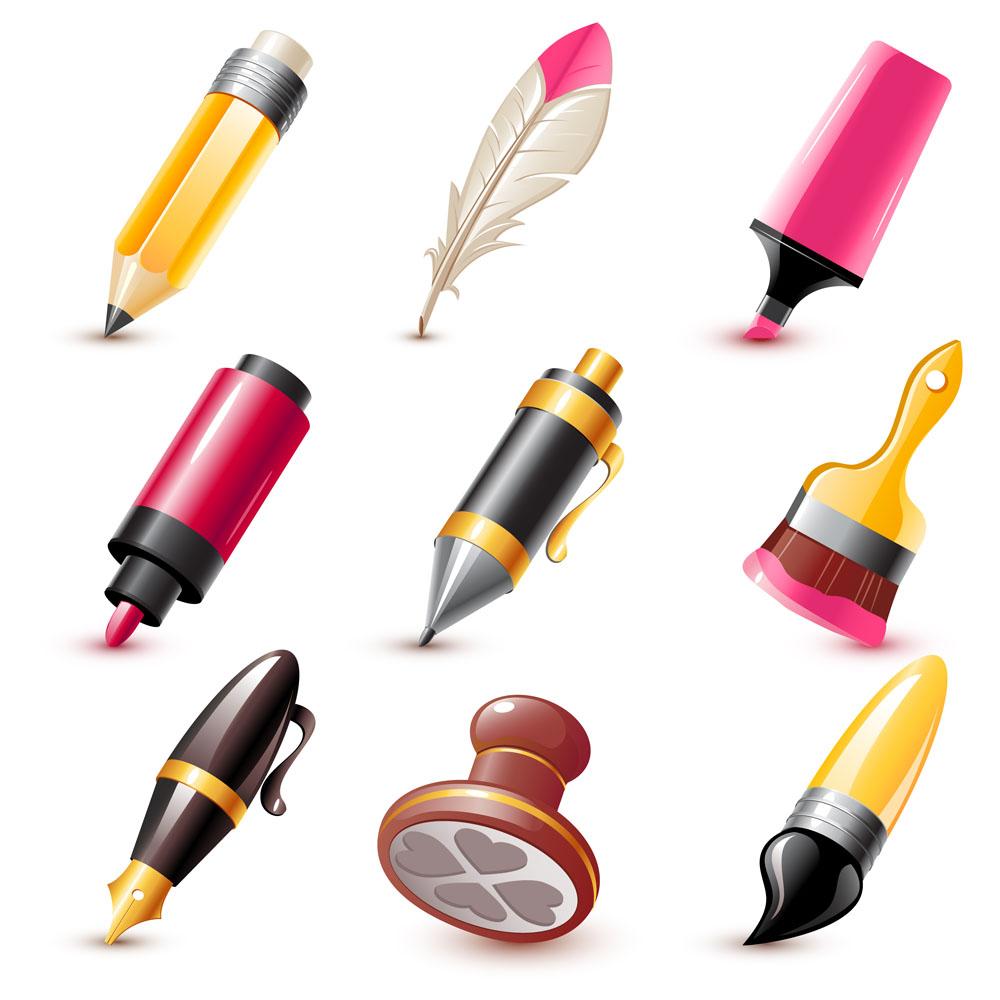 生活百科 办公学习 卡通文具,羽毛笔,印章,画笔,毛笔,油漆刷,钢笔图片