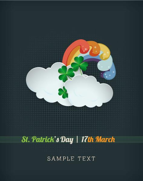 云朵,彩虹,半调图案,圣帕特里克节海报,节日海报模板,爱尔兰节日,创意图片