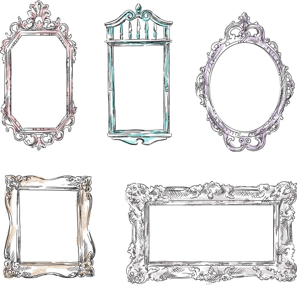 矢量素材 底纹边框 边框相框 相框,装饰画框,巴洛克式框架,欧式花纹图片