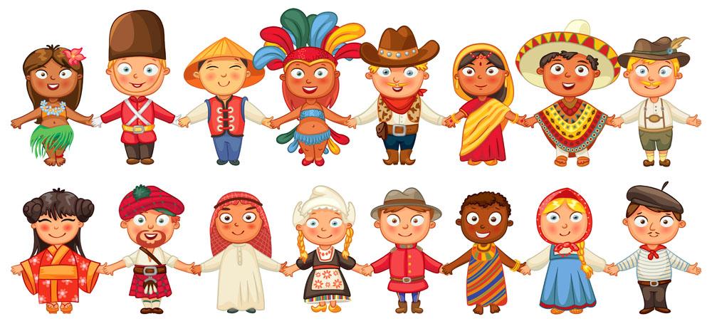 矢量人物 卡通形象 世界各国儿童,手牵手,卡通男孩,卡通男生,卡通女孩图片