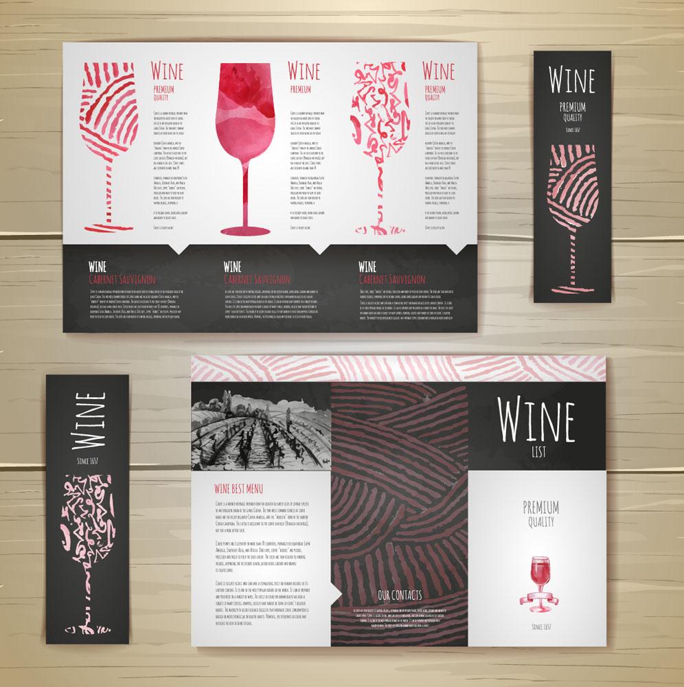 红酒菜单折页设计图片图片