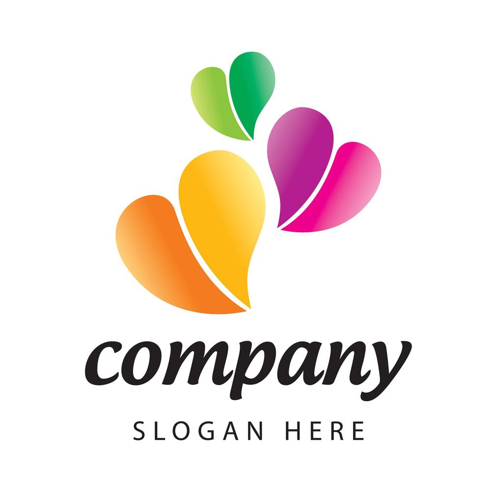 彩色爱心logo设计图片