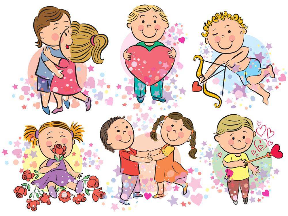 矢量人物 儿童幼儿 情人节儿童漫画,卡通情侣,拥抱,爱心,桃心,丘比特图片