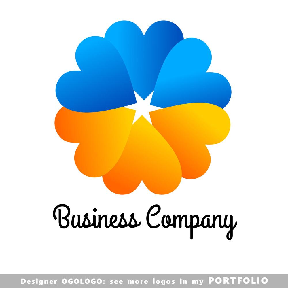 爱心花朵logo设计,图片