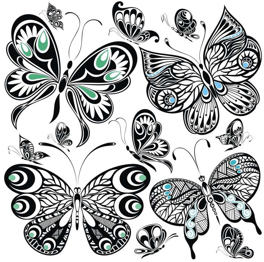 飞舞蝴蝶纹身图案图片