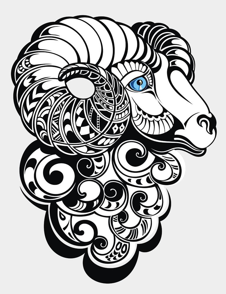 羊纹身图案图片