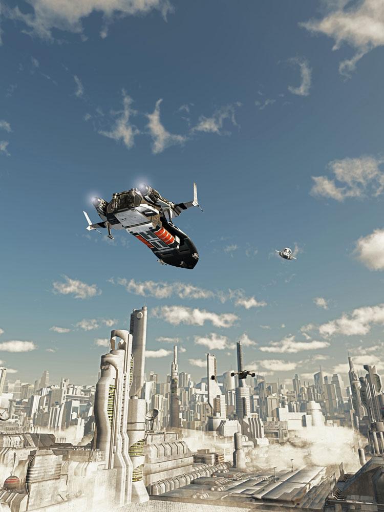 飞机与未来城市图片