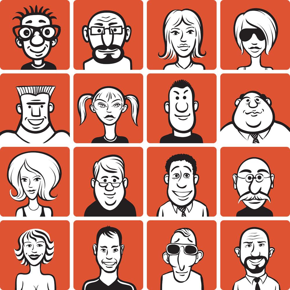 集图网 矢量素材 矢量人物 卡通形象 卡通女孩,卡通老人,卡通男人图片