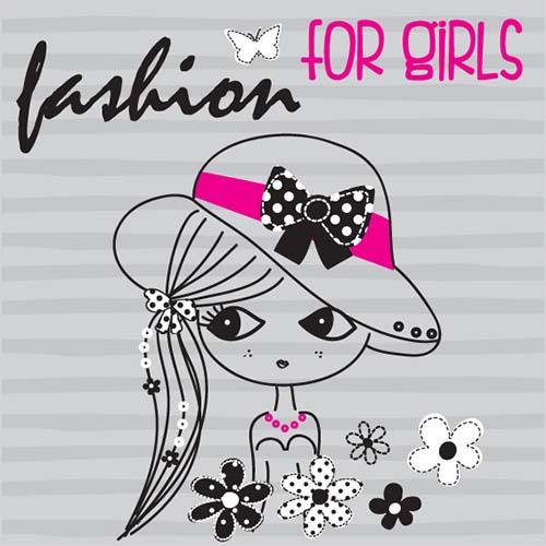 集图网 矢量素材 底纹边框 印花图案 卡通女孩漫画,卡通女生,戴帽子的图片