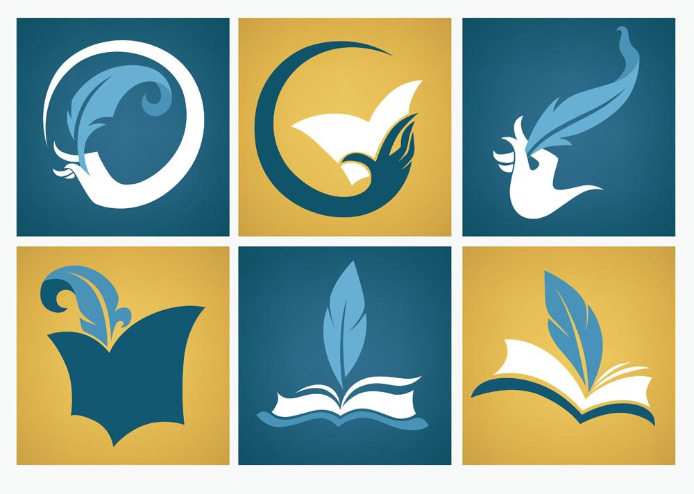 矢量素材 标志图标 行业标志 羽毛笔,书本,教育logo设计,创意logo图形图片