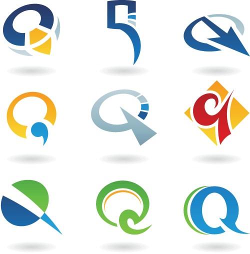 矢量素材 文化艺术 书画文字 创意q形字母标志设计,英文字母logo设计图片