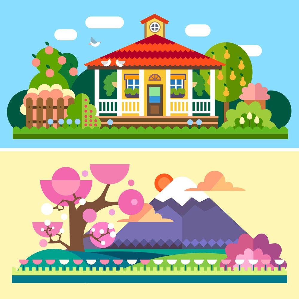 卡通房子与卡通水果树图片图片