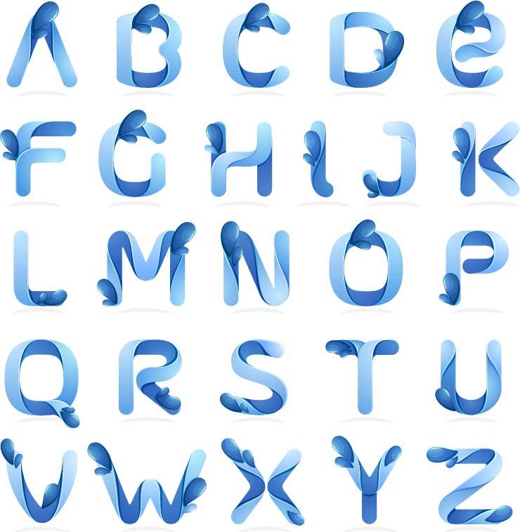 书画文字 蓝色创意26个字母,26个英文字母,艺术字母,英文字体,个性