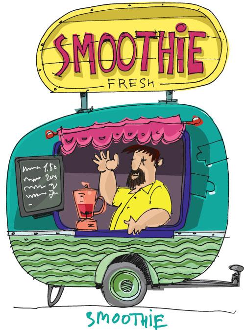 集图网 矢量素材 矢量人物 卡通形象 买饮料的卡通男人,餐车,商店图片