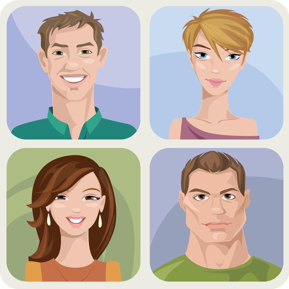 卡通肖像男女头像图片图片