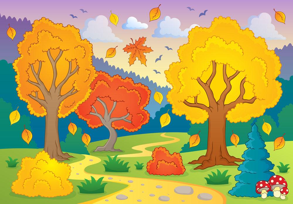 卡通乡村风景背景图片下载,道路,草地,大树,天空,树林,乡村,秋天,秋季图片