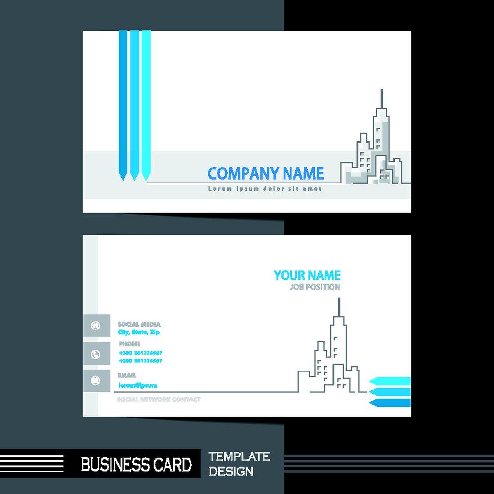 简洁手绘建筑名片背景矢量素材下载-名片卡片-广告设计-矢量素材 - 集图片