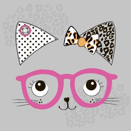 戴眼镜的卡通猫咪图片图片