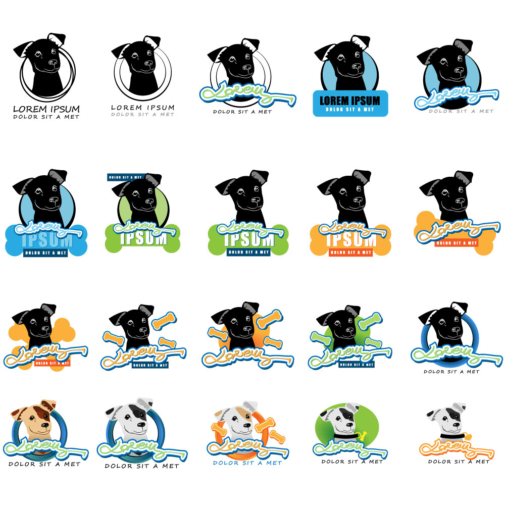 卡通小狗动物logo矢量素材下载-行业标志-标志图标